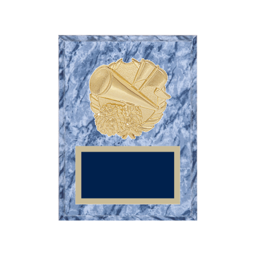"""6"""" x 8"""" Cheerleading Plaque with gold background plate, colored engraving plate and gold 3D Cheerleading medallion."""