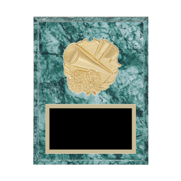 "7"" x 9"" Cheerleading Plaque with gold background plate, colored engraving plate and gold 3D Cheerleading medallion."