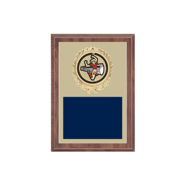 "5"" x 7"" Cheerleading Plaque with gold background plate, colored engraving plate, gold wreath medallion and Cheerleading insert."