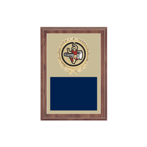 """5"""" x 7"""" Cheerleading Plaque with gold background plate, colored engraving plate, gold wreath medallion and Cheerleading insert."""