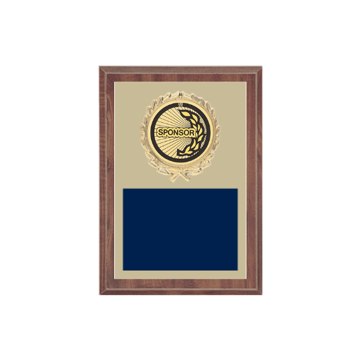 "5"" x 7"" Sponsor Plaque with gold background plate, colored engraving plate, gold wreath medallion and Sponsor insert."