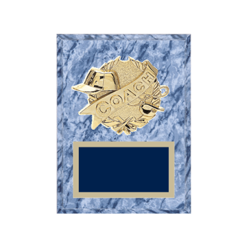 "6"" x 8"" Coaching Plaque with gold background plate, colored engraving plate and gold 3D Coaching medallion."