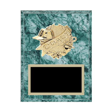 "7"" x 9"" Coaching Plaque with gold background plate, colored engraving plate and gold 3D Coaching medallion."