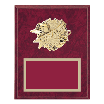 "8"" x 10"" Coaching Plaque with gold background plate, colored engraving plate and gold 3D Coaching medallion."