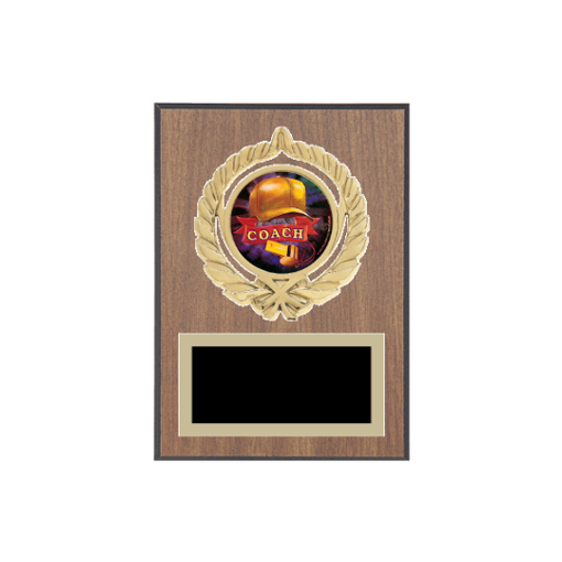 """5"""" x 7"""" Coaching Plaque with gold background plate, colored engraving plate, gold open wreath medallion holder and Coaching insert."""