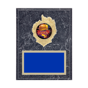"7"" x 9"" Coaching Plaque with gold background, colored engraving plate, gold flame medallion holder and Coaching insert."