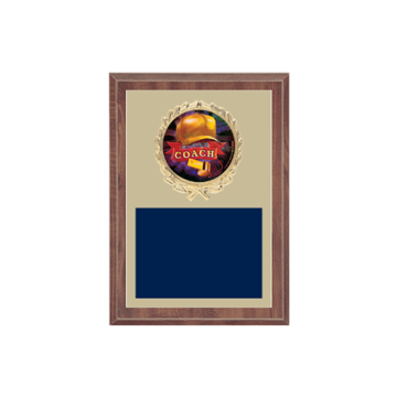 "5"" x 7"" Coaching Plaque with gold background plate, colored engraving plate, gold wreath medallion and Coaching insert."
