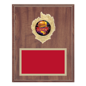 "8"" x 10"" Coaching Plaque with gold background, colored engraving plate, gold flame medallion holder and Coaching insert."