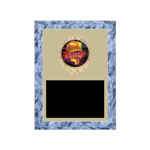 """6"""" x 8"""" Coaching Plaque with gold background plate, colored engraving plate, gold wreath medallion and Coaching insert."""
