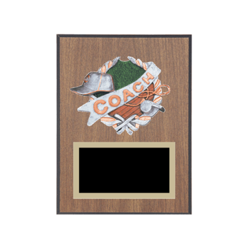 "6"" x 8"" Coaching Plaque with gold background plate, colored engraving plate and full color 3D resin Coaching medallion."