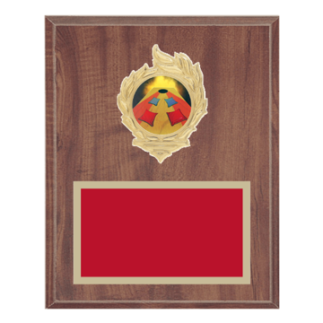 "8"" x 10"" Cornhole Plaque with gold background, colored engraving plate, gold flame medallion holder and Cornhole insert."