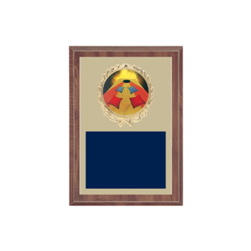 "5"" x 7"" Cornhole Plaque with gold background plate, colored engraving plate, gold wreath medallion and Cornhole insert."