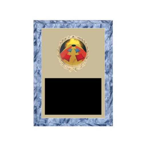 """6"""" x 8"""" Cornhole Plaque with gold background plate, colored engraving plate, gold wreath medallion and Cornhole insert."""