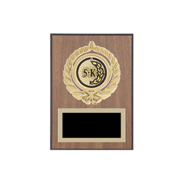 "5"" x 7"" Cross Country Plaque with gold background plate, colored engraving plate, gold open wreath medallion holder and Cross Country insert."