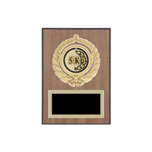 """5"""" x 7"""" Cross Country Plaque with gold background plate, colored engraving plate, gold open wreath medallion holder and Cross Country insert."""