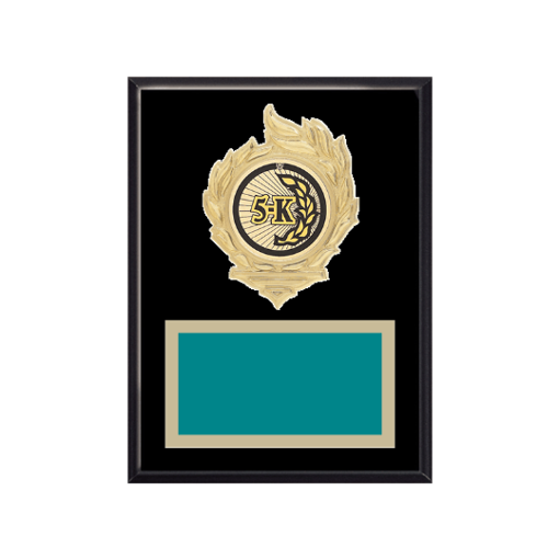"""6"""" x 8"""" Cross Country Plaque with gold background, colored engraving plate, gold flame medallion holder and Cross Country insert."""