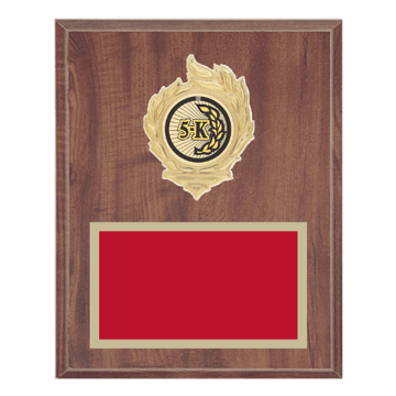 "8"" x 10"" Cross Country Plaque with gold background, colored engraving plate, gold flame medallion holder and Cross Country insert."