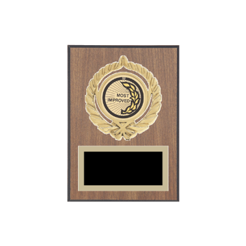 "5"" x 7"" Most Improved Plaque with gold background plate, colored engraving plate, gold open wreath medallion holder and Most Improved insert."