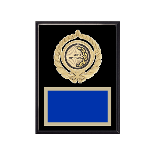 """6"""" x 8"""" Most Improved Plaque with gold background plate, colored engraving plate, gold open wreath medallion holder and Most Improved insert."""