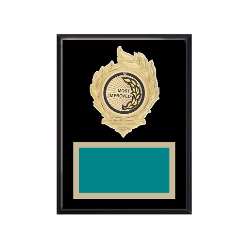 """6"""" x 8"""" Most Improved Plaque with gold background, colored engraving plate, gold flame medallion holder and Most Improved insert."""