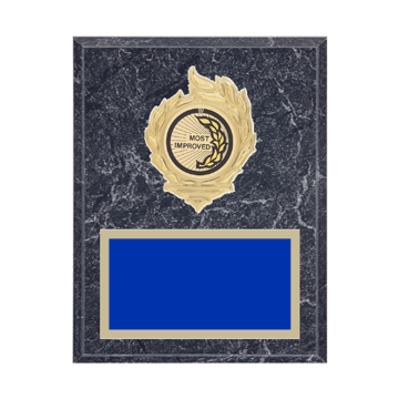 "7"" x 9"" Most Improved Plaque with gold background, colored engraving plate, gold flame medallion holder and Most Improved insert."