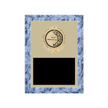 "6"" x 8"" Most Improved Plaque with gold background plate, colored engraving plate, gold wreath medallion and Most Improved insert."