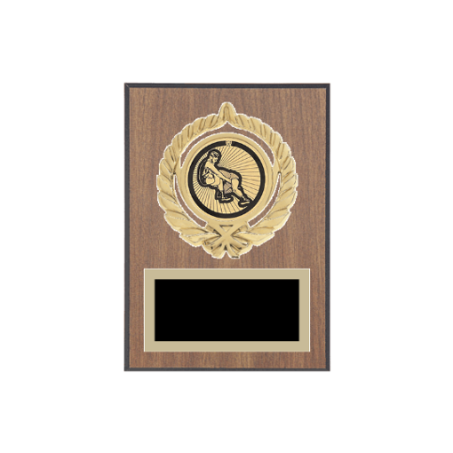 "5"" x 7"" Wrestling Plaque with gold background plate, colored engraving plate, gold open wreath medallion holder and Wrestling insert."
