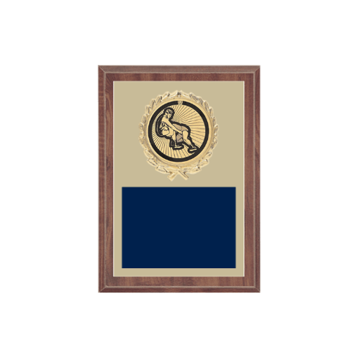 "5"" x 7"" Wrestling Plaque with gold background plate, colored engraving plate, gold wreath medallion and Wrestling insert."