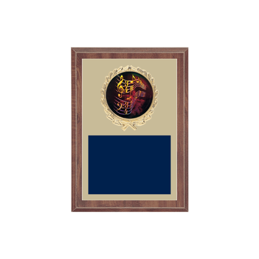 "5"" x 7"" Music Plaque with gold background plate, colored engraving plate, gold wreath medallion and Music insert."
