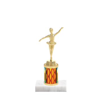 "7"" Dance Trophy with Dance Figurine, 2"" colored column and marble base."