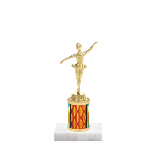 """7"""" Dance Trophy with Dance Figurine, 2"""" colored column and marble base."""