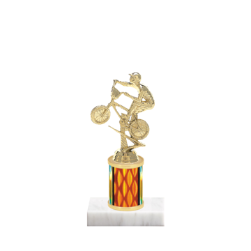 """7"""" BMX Trophy with BMX Figurine, 2"""" colored column and marble base."""