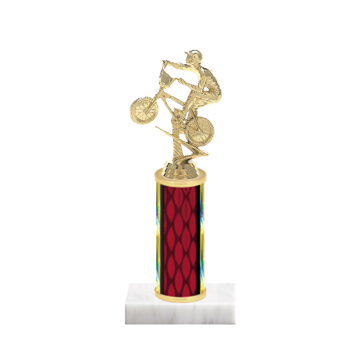 """9"""" BMX Trophy with BMX Figurine, 4"""" colored column and marble base."""