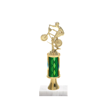 """11"""" BMX Trophy with BMX Figurine, 3"""" colored column, gold riser and marble base."""