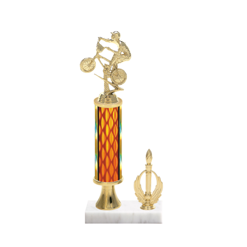 "13"" BMX Trophy with BMX Figurine, 5"" colored column, gold riser, side trim and marble base."