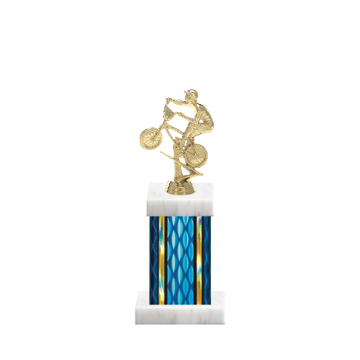 """11"""" BMX Trophy with BMX Figurine, 4"""" colored column and marble base."""
