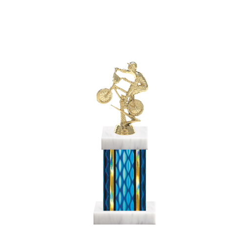 "11"" BMX Trophy with BMX Figurine, 4"" colored column and marble base."