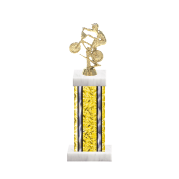 """13"""" BMX Trophy with BMX Figurine, 6"""" colored column and marble base."""