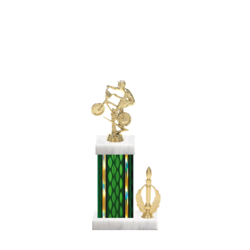 """13"""" BMX Trophy with BMX Figurine, 5"""" colored column, side trim and marble base."""