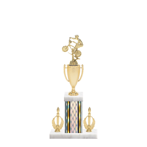 "16"" BMX Trophy with BMX Figurine, 5"" colored column, double side trim and marble base."