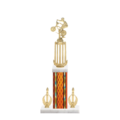 """18"""" BMX Trophy with BMX Figurine, 7"""" colored column, double side trim and marble base."""