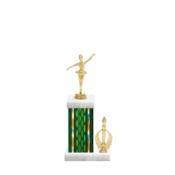 "13"" Dance Trophy with Dance Figurine, 5"" colored column, side trim and marble base."