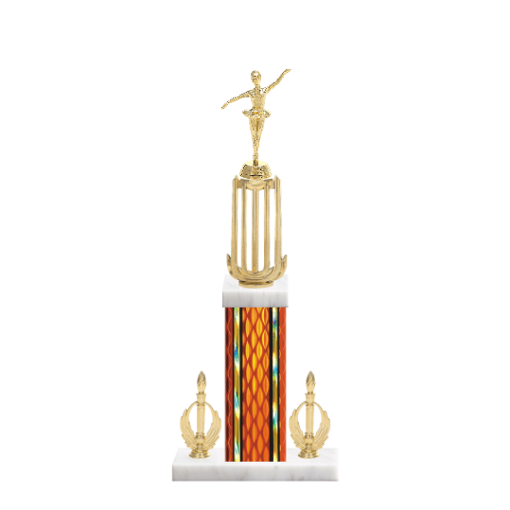 """18"""" Dance Trophy with Dance Figurine, 7"""" colored column, double side trim and marble base."""