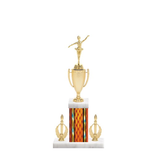 "16"" Dance Trophy with Dance Figurine, 5"" colored column, double side trim and marble base."