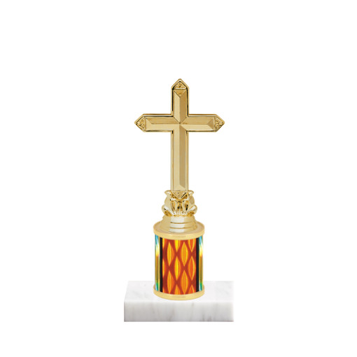 "7"" Cross Trophy with Cross Figurine, 2"" colored column and marble base."