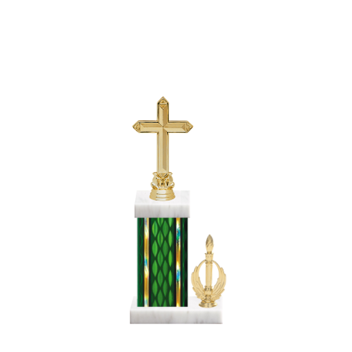 """13"""" Cross Trophy with Cross Figurine, 5"""" colored column, side trim and marble base."""
