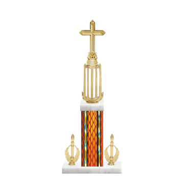 "18"" Cross Trophy with Cross Figurine, 7"" colored column, double side trim and marble base."
