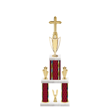 "22"" Multi-Tier Cross Trophy with Cross Figurine, 5"" colored top column, 5"" colored bottom columns, cup riser, double side trim and center base trim."