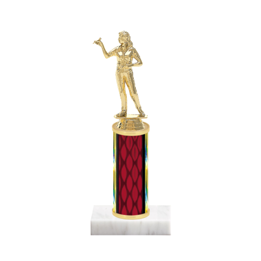 "9"" Dart Trophy with Dart Figurine, 4"" colored column and marble base."