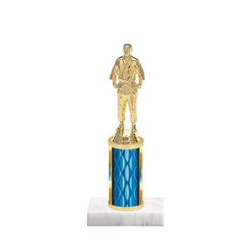 "8"" Martial Arts Trophy with Martial Arts Figurine, 3"" colored column and marble base."